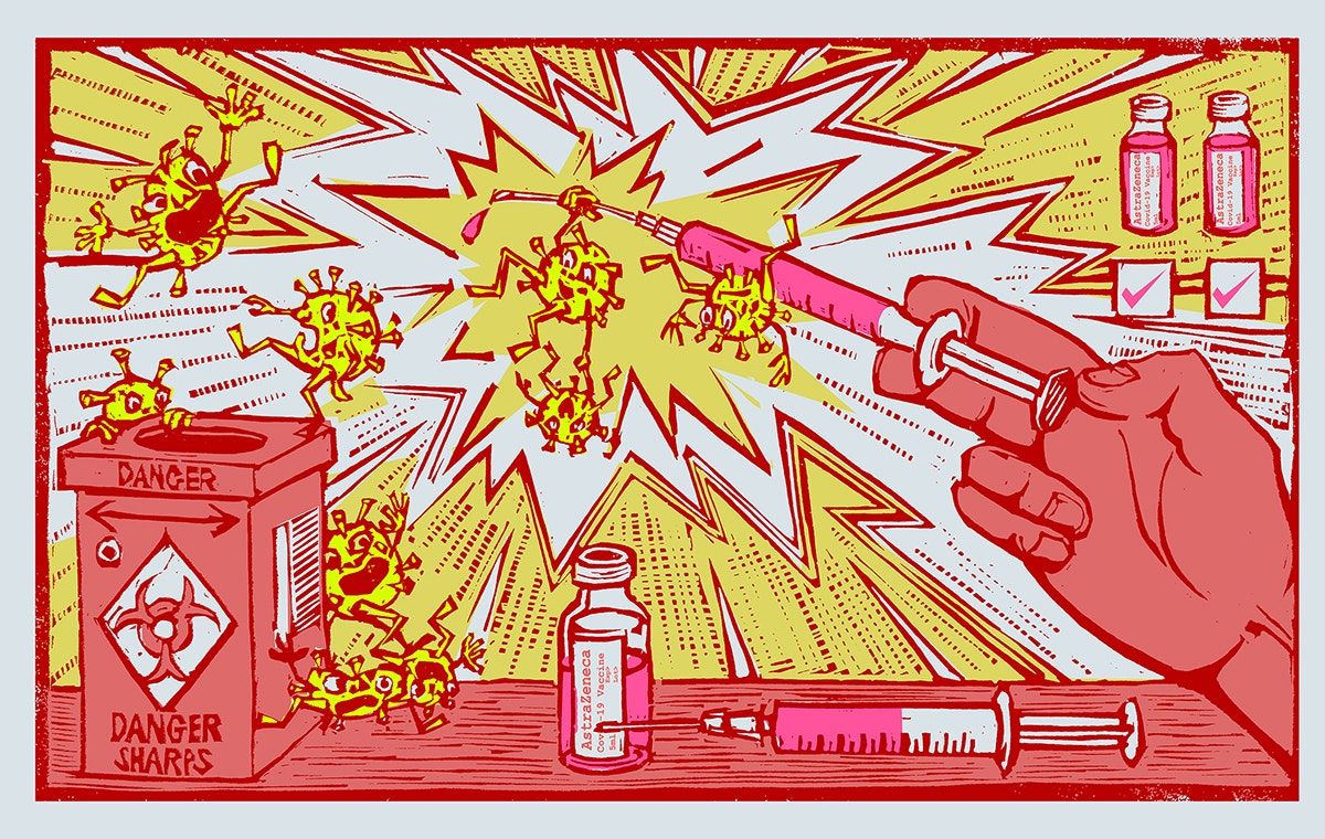 The Jab 30 x 18cm 250gsm Somerset Satin Edition of 100 Lino print, Stencil and Chine Collé